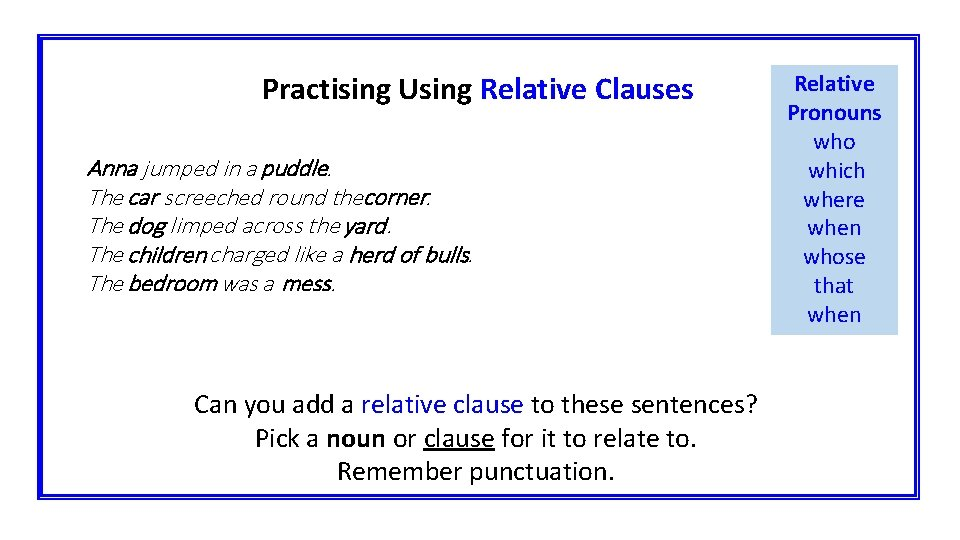 Practising Using Relative Clauses Anna jumped in a puddle. The car screeched round thecorner.