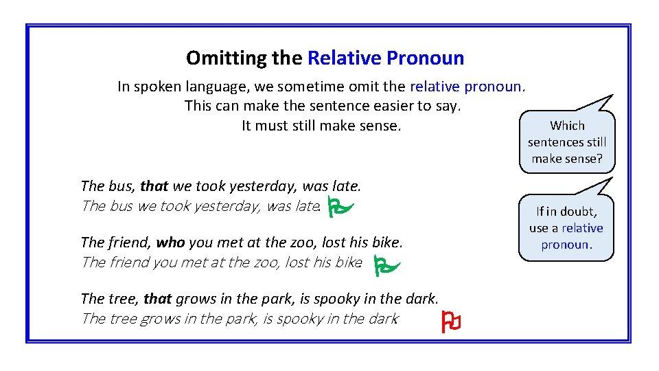 Omitting the Relative Pronoun In spoken language, we sometime omit the relative pronoun. This