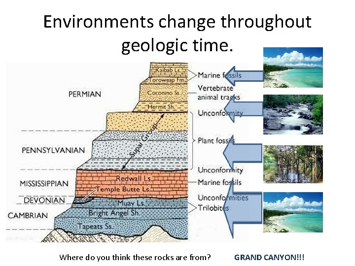 Environments change throughout geologic time. Where do you think these rocks are from? GRAND