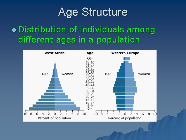 Age Structure u Distribution of individuals among different ages in a population