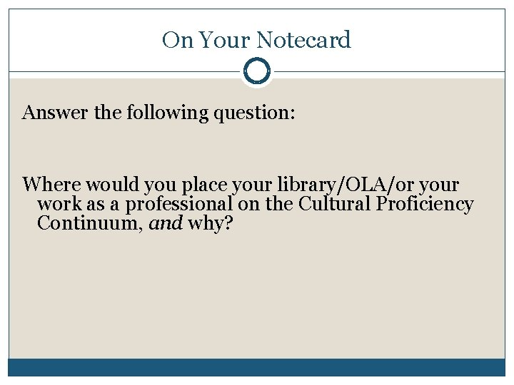 On Your Notecard Answer the following question: Where would you place your library/OLA/or your