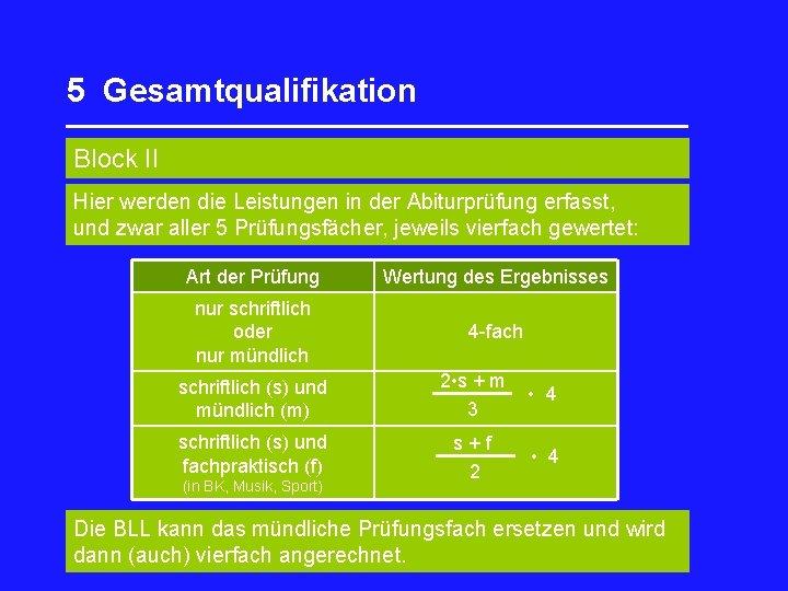 5 Gesamtqualifikation _________________ Block II Hier werden die Leistungen in der Abiturprüfung erfasst, und