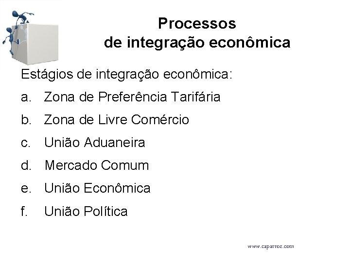 Processos de integração econômica Estágios de integração econômica: a. Zona de Preferência Tarifária b.