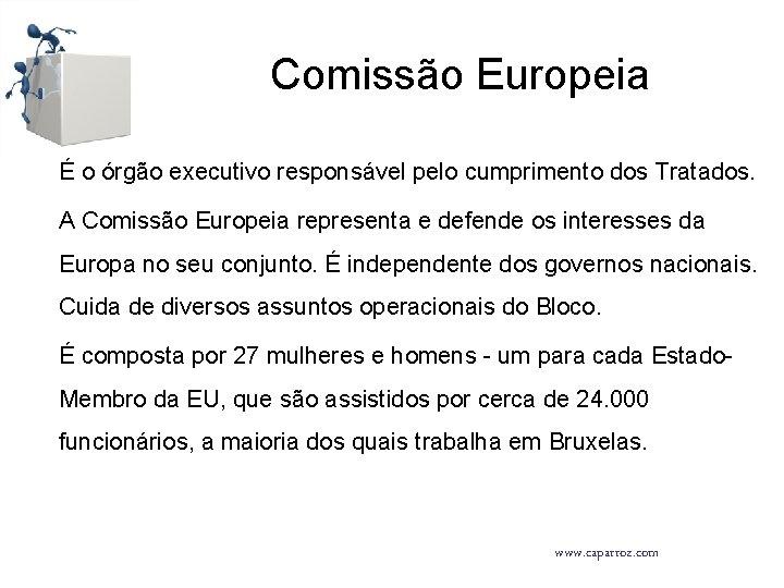 Comissão Europeia É o órgão executivo responsável pelo cumprimento dos Tratados. A Comissão Europeia