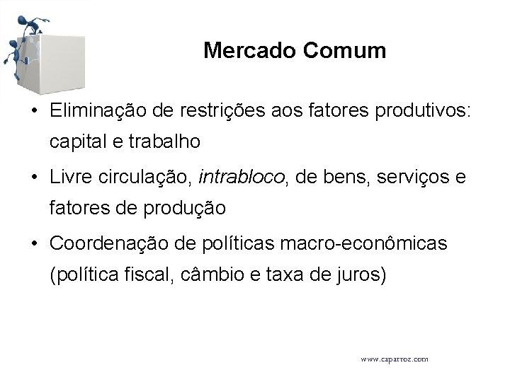 Mercado Comum • Eliminação de restrições aos fatores produtivos: capital e trabalho • Livre