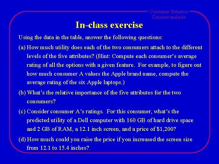 In-class exercise Consumer Behavior Conjoint analysis Using the data in the table, answer the
