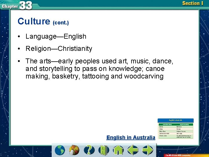 Culture (cont. ) • Language—English • Religion—Christianity • The arts—early peoples used art, music,