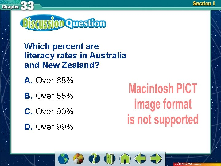 Which percent are literacy rates in Australia and New Zealand? A. Over 68% B.