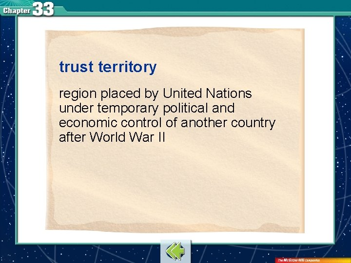 trust territory region placed by United Nations under temporary political and economic control of