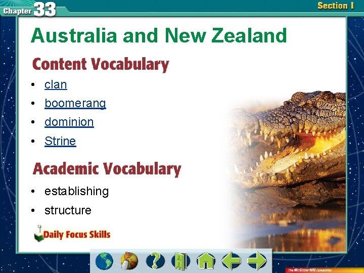 Australia and New Zealand • clan • boomerang • dominion • Strine • establishing