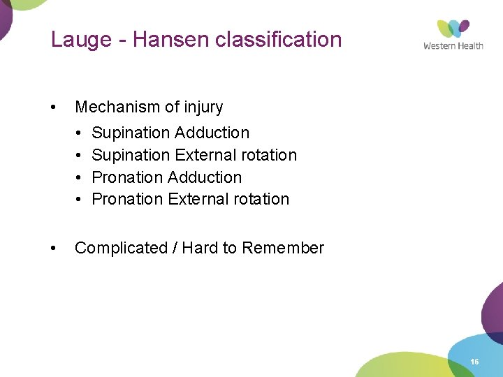 Lauge - Hansen classification • Mechanism of injury • • • Supination Adduction Supination