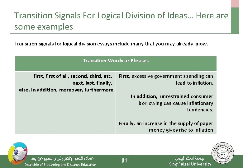 Transition Signals For Logical Division of Ideas… Here are some examples Transition signals for