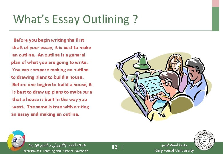 What's Essay Outlining ? Before you begin writing the first draft of your essay,