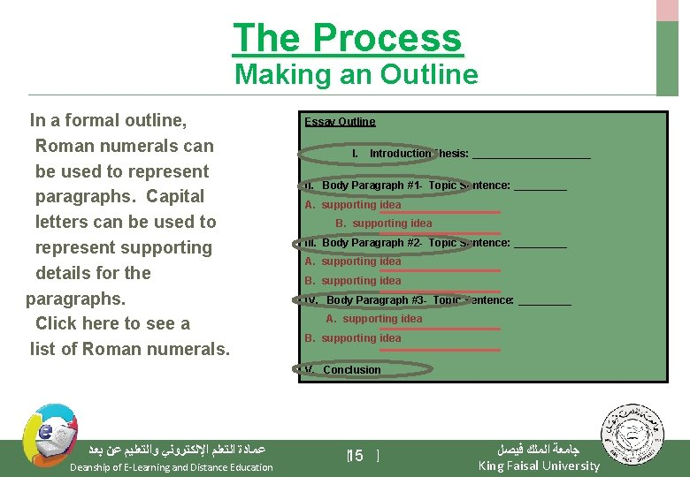 The Process Making an Outline In a formal outline, Roman numerals can be used