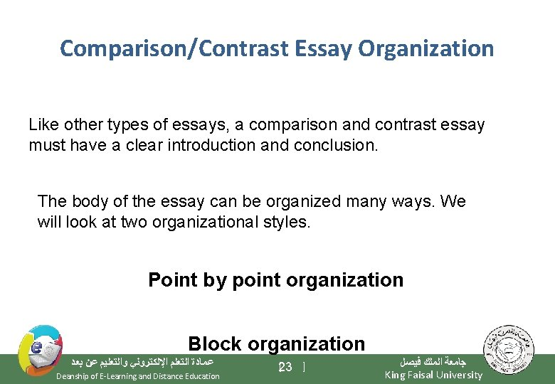Comparison/Contrast Essay Organization Like other types of essays, a comparison and contrast essay must