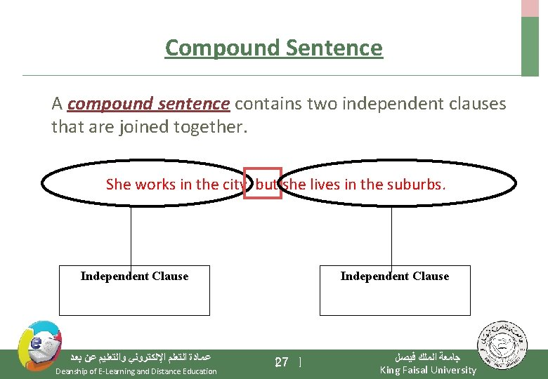 Compound Sentence A compound sentence contains two independent clauses that are joined together. She