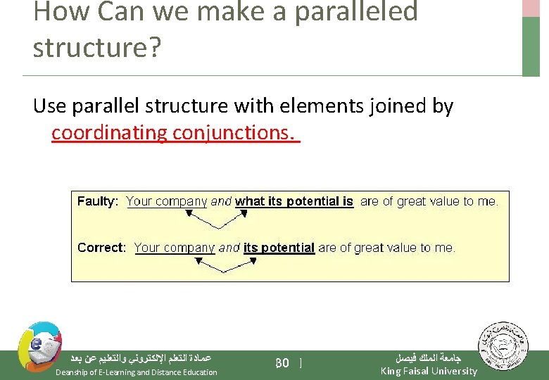How Can we make a paralleled structure? Use parallel structure with elements joined by