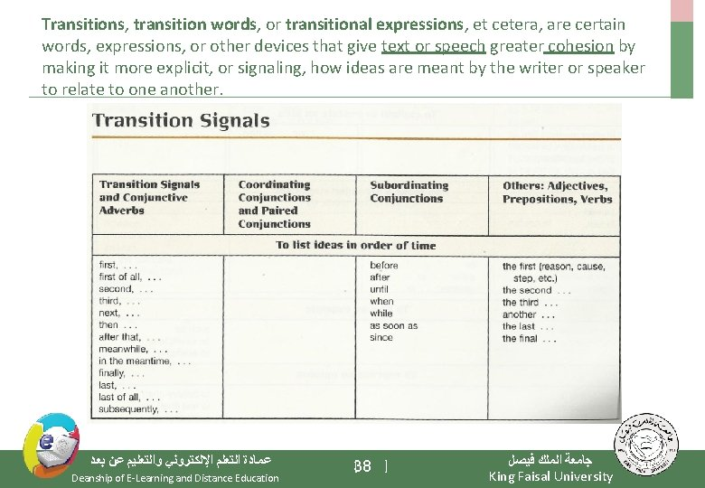 Transitions, transition words, or transitional expressions, et cetera, are certain words, expressions, or other