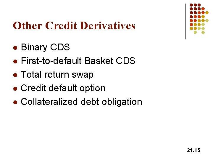 Other Credit Derivatives l l l Binary CDS First-to-default Basket CDS Total return swap