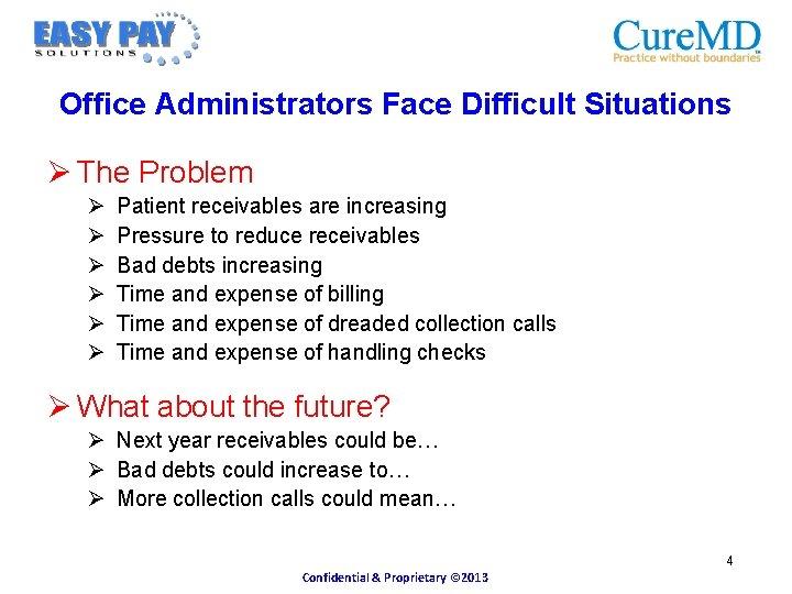 Office Administrators Face Difficult Situations Ø The Problem Ø Ø Ø Patient receivables are