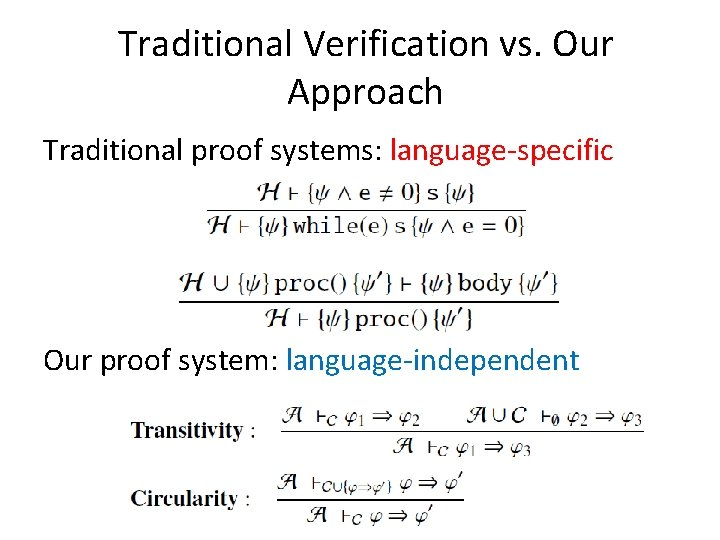 Traditional Verification vs. Our Approach Traditional proof systems: language-specific Our proof system: language-independent