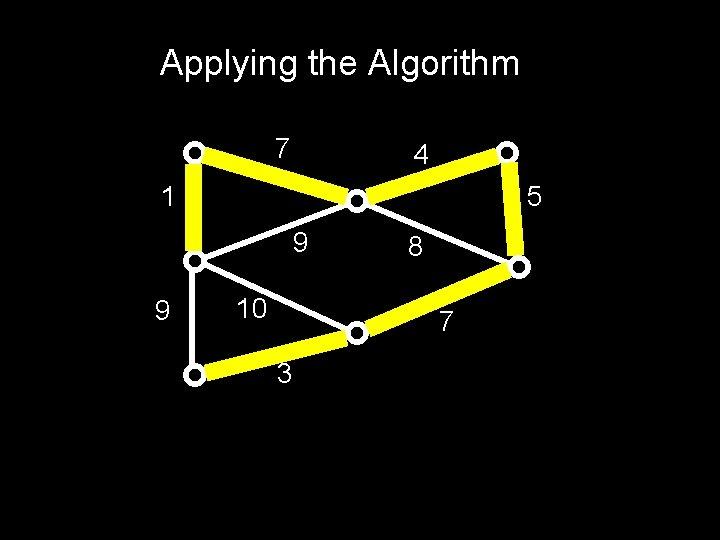 Applying the Algorithm 7 4 1 5 9 9 10 8 7 3
