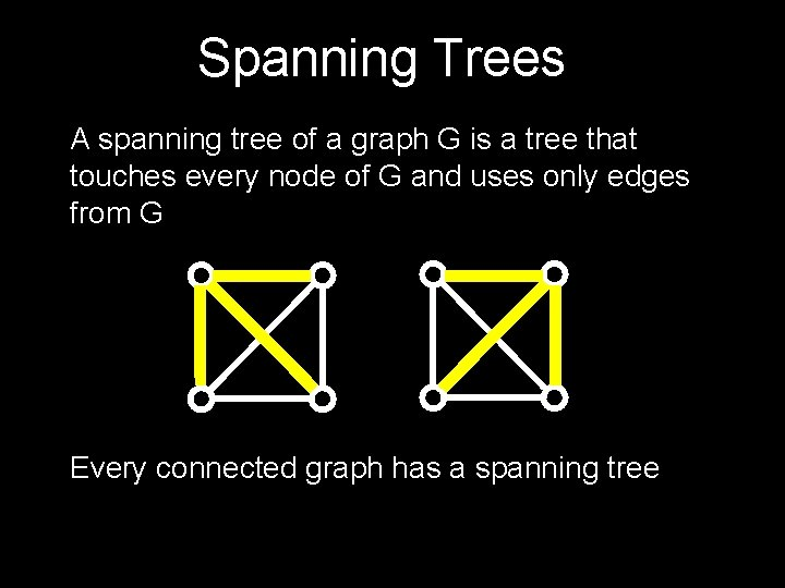Spanning Trees A spanning tree of a graph G is a tree that touches
