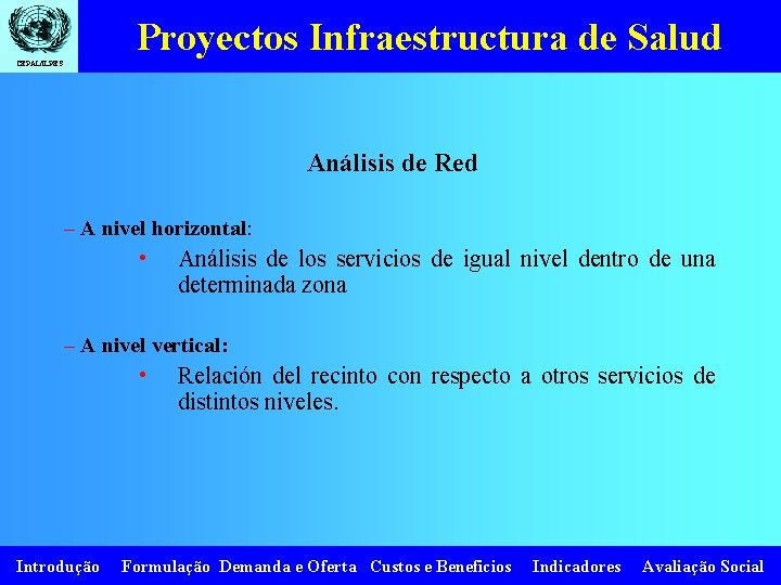 Proyectos Infraestructura de Salud CEPAL/ILPES Análisis de Red – A nivel horizontal: • Análisis
