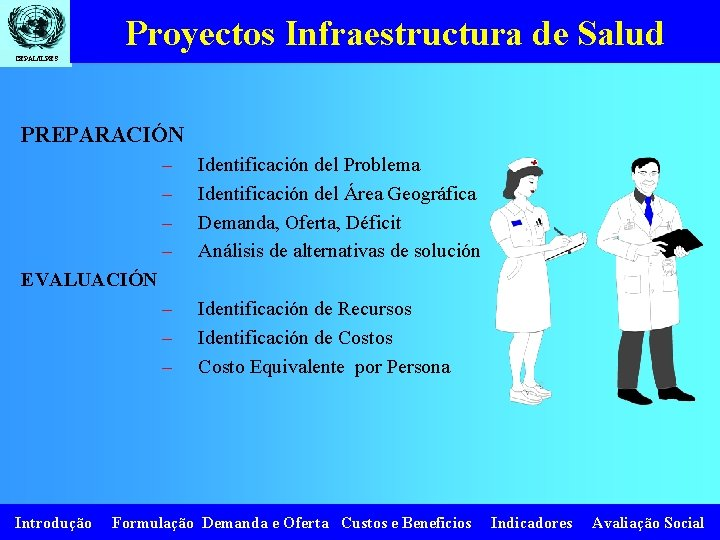 Proyectos Infraestructura de Salud CEPAL/ILPES PREPARACIÓN – – Identificación del Problema Identificación del Área