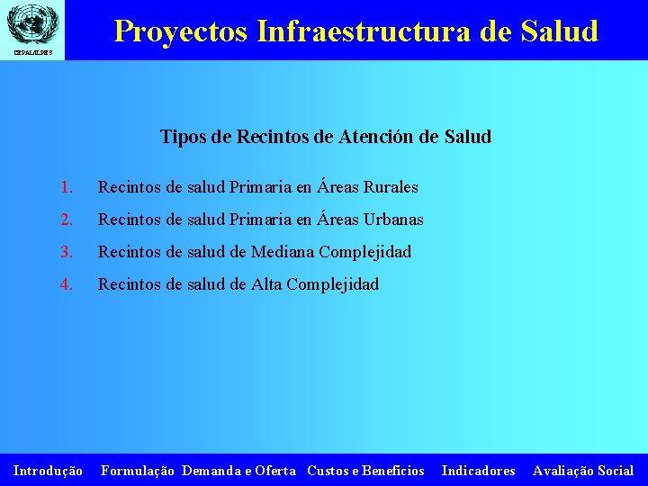 Proyectos Infraestructura de Salud CEPAL/ILPES Tipos de Recintos de Atención de Salud 1. Recintos
