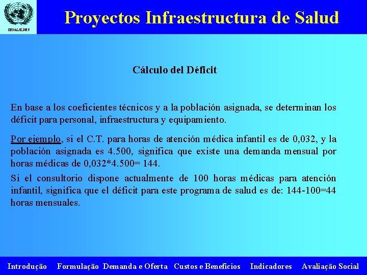 Proyectos Infraestructura de Salud CEPAL/ILPES Cálculo del Déficit En base a los coeficientes técnicos
