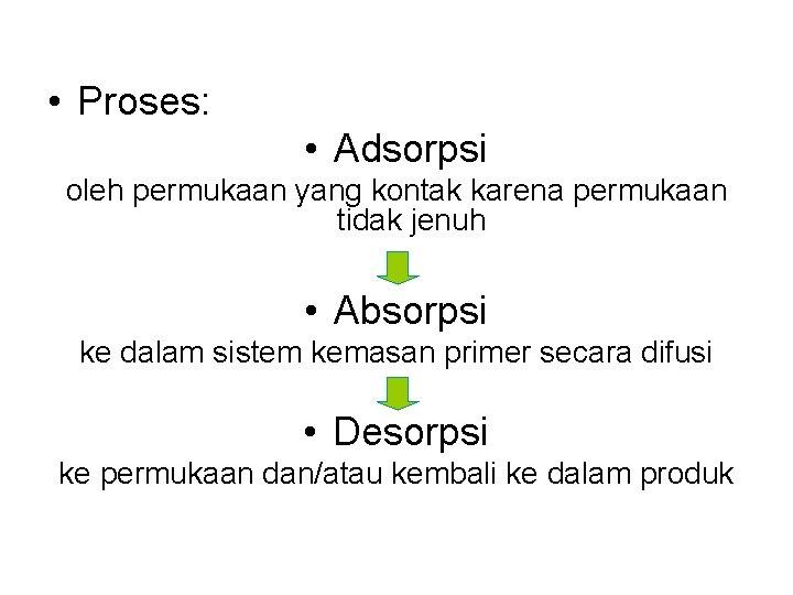 • Proses: • Adsorpsi oleh permukaan yang kontak karena permukaan tidak jenuh •