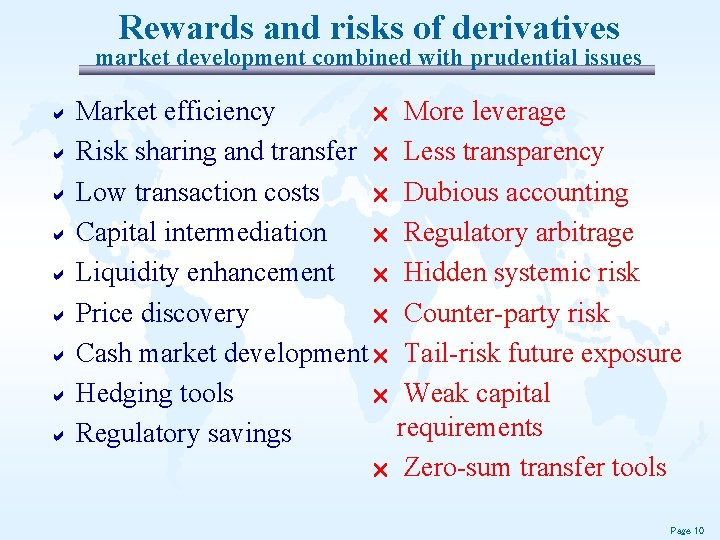 Rewards and risks of derivatives market development combined with prudential issues a Market efficiency