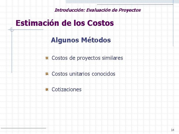 Introducción: Evaluación de Proyectos Estimación de los Costos Algunos Métodos Costos de proyectos similares