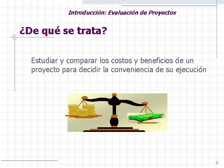 Introducción: Evaluación de Proyectos ¿De qué se trata? Estudiar y comparar los costos y