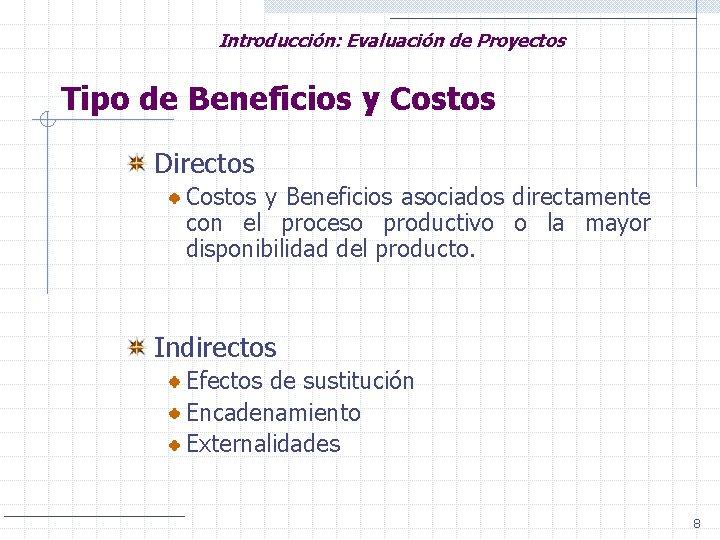 Introducción: Evaluación de Proyectos Tipo de Beneficios y Costos Directos Costos y Beneficios asociados