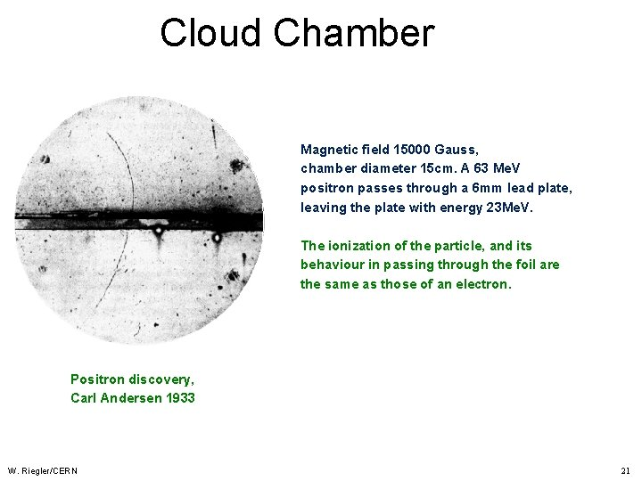 Cloud Chamber Magnetic field 15000 Gauss, chamber diameter 15 cm. A 63 Me. V