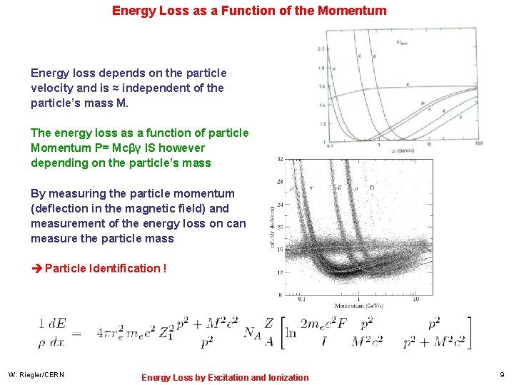 Energy Loss as a Function of the Momentum Energy loss depends on the particle