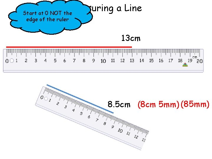 Measuring a Line Start at 0 NOT the edge of the ruler 13 cm