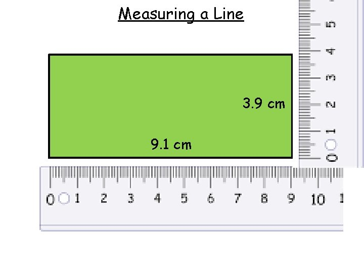 Measuring a Line 3. 9 cm 9. 1 cm