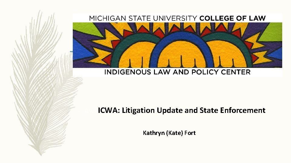 Federal Litigation post-Baby Girl – ICWA: Litigation Update and State Enforcement Kathryn (Kate) Fort