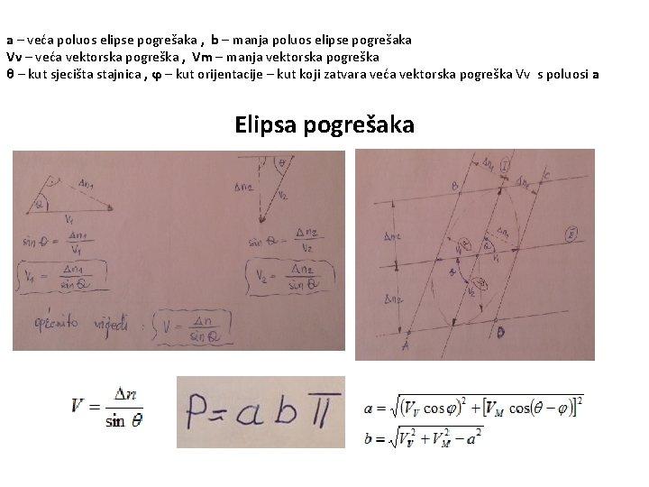 a – veća poluos elipse pogrešaka , b – manja poluos elipse pogrešaka Vv