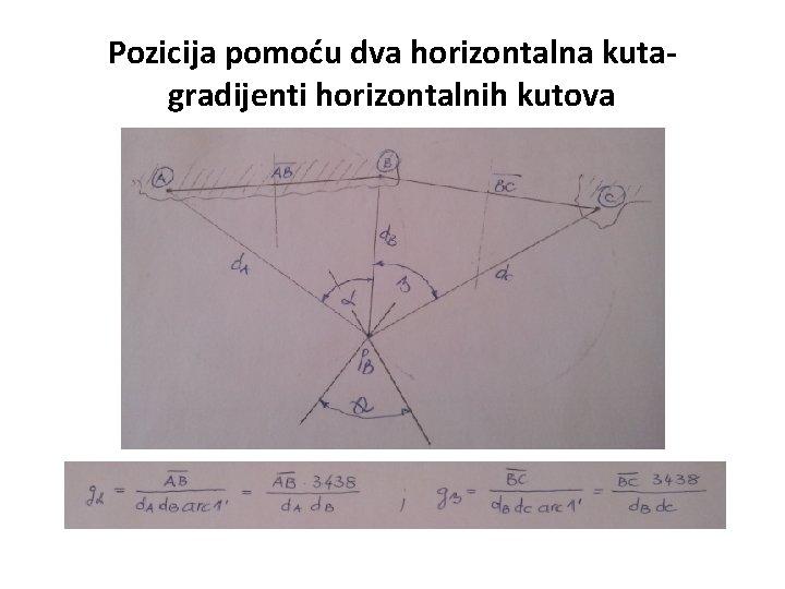 Pozicija pomoću dva horizontalna kutagradijenti horizontalnih kutova