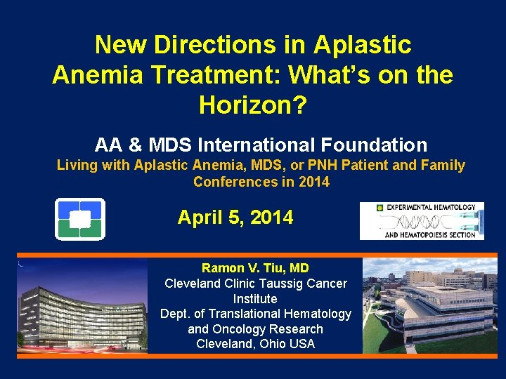 New Directions in Aplastic Anemia Treatment: What's on the Horizon? AA & MDS International