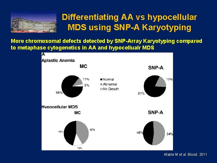 Differentiating AA vs hypocellular MDS using SNP-A Karyotyping More chromosomal defects detected by SNP-Array