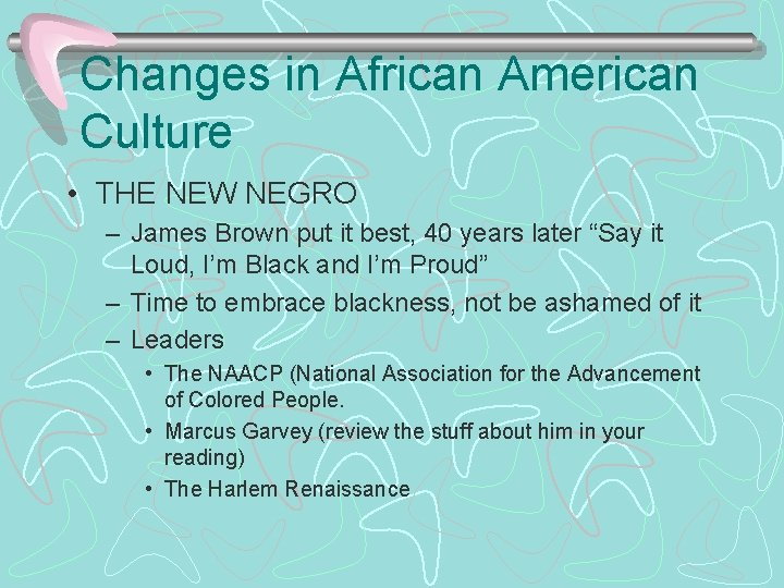 Changes in African American Culture • THE NEW NEGRO – James Brown put it