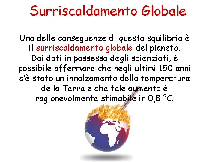 Surriscaldamento Globale Una delle conseguenze di questo squilibrio è il surriscaldamento globale del pianeta.