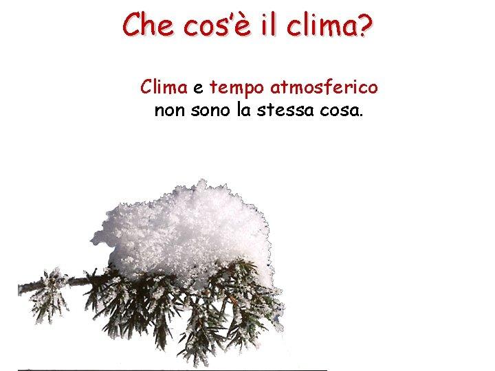 Che cos'è il clima? Clima e tempo atmosferico non sono la stessa cosa.