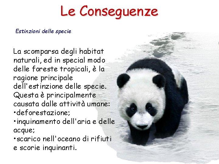 Le Conseguenze Estinzioni delle specie La scomparsa degli habitat naturali, ed in special modo