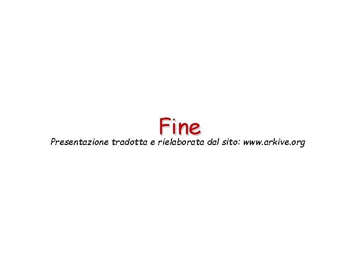Fine Presentazione tradotta e rielaborata dal sito: www. arkive. org